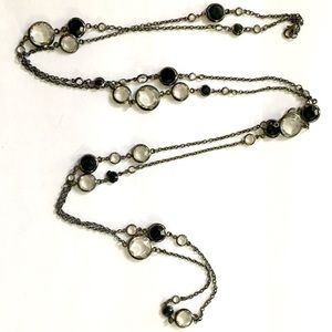 Black Clear crystal necklace Long